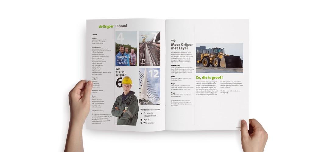 Binnenwerk personeelsmagazine De Grijper